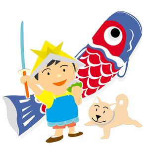 鯉のぼりと男子の写真素材 [FYI00316932]