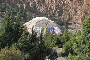 文字が刻まれている石の写真素材 [FYI00318115]