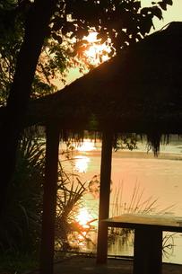 夕陽と池と小屋の写真素材 [FYI00320650]