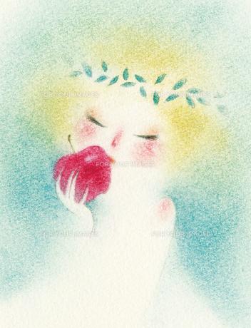 林檎に口づける少女の素材 [FYI00321540]