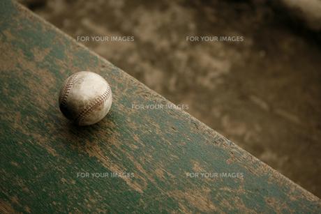 ベンチに置かれた野球のボールの写真素材 [FYI00321806]