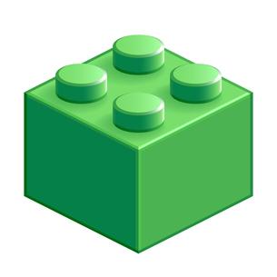 ブロック おもちゃ 4つはめ込み式立体 グリーンの写真素材 [FYI00322299]