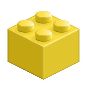 ブロック おもちゃ 4つはめ込み式立体 イエローの写真素材 [FYI00322302]