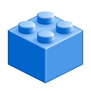 ブロック おもちゃ 4つはめ込み式立体 ブルーの写真素材 [FYI00322303]