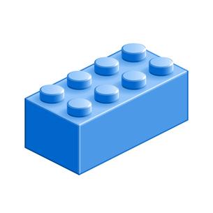 ブロック おもちゃ 8つはめ込み式立体 ブルーの写真素材 [FYI00322313]