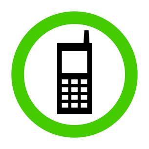 ピクトグラム 携帯電話使用可能(タイプA) グリーンの写真素材 [FYI00322315]