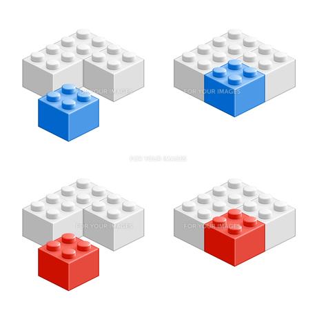 ブロック おもちゃ 組み合わせ立体物 ブルー&レッドの素材 [FYI00322329]