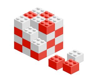 ブロック おもちゃ 組み立て立体物 レッドの素材 [FYI00322330]