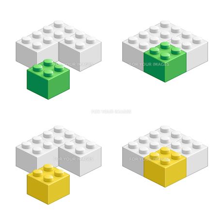 ブロック おもちゃ 組み合わせ立体物 グリーン&イエローの素材 [FYI00322331]