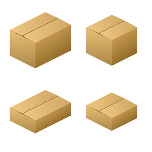 ダンボール箱 無地 サイズ4種類 茶色の写真素材 [FYI00322333]