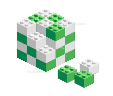 ブロック おもちゃ 組み立て立体物 グリーンの素材 [FYI00322334]