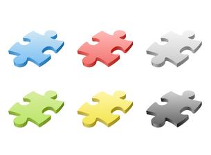 ジグソーパズル ピース単体各色の写真素材 [FYI00322336]