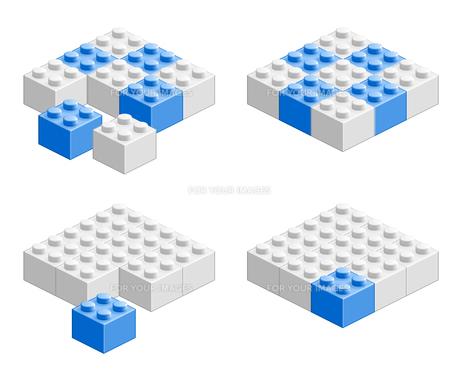 ブロック おもちゃ 組み合わせ立体物 ブルーの素材 [FYI00322337]