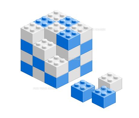 ブロック おもちゃ 組み立て立体物 ブルーの素材 [FYI00322338]