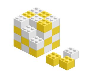 ブロック おもちゃ 組み立て立体物 イエローの素材 [FYI00322340]