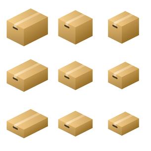 ダンボール箱 ガムテープ取っ手タイプ サイズ9種類 茶色の写真素材 [FYI00322342]