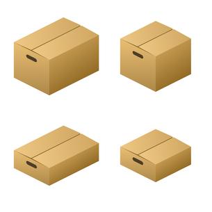 ダンボール箱 無地・取っ手 サイズ4種類 茶色の写真素材 [FYI00322344]