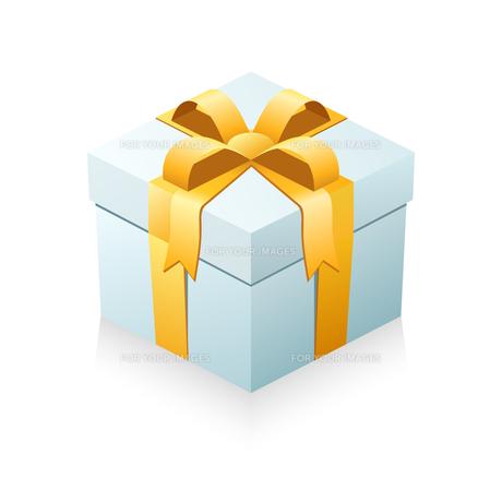 プレゼント箱 箱(ライトブルー)+リボン(オレンジ)の写真素材 [FYI00322347]