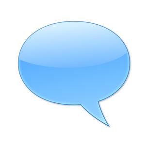 ふきだし 丸タイプ 右 (青色)の写真素材 [FYI00322348]