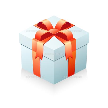 プレゼント箱 箱(ライトブルー)+リボン(レッド)の写真素材 [FYI00322350]