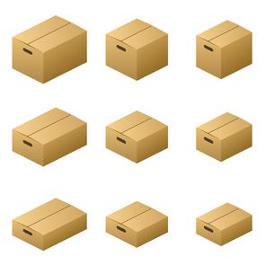 ダンボール箱 取っ手タイプ サイズ9種類 茶色の写真素材 [FYI00322351]