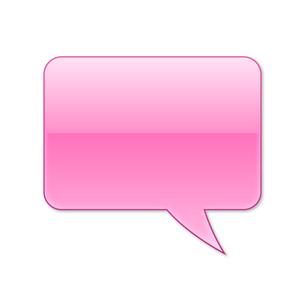 ふきだし 四角タイプ 右 (ピンク色)の写真素材 [FYI00322365]