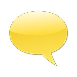 ふきだし 丸タイプ 右 (黄色)の写真素材 [FYI00322367]