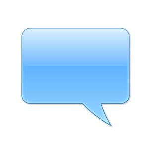 ふきだし 四角タイプ 右 (青色)の写真素材 [FYI00322370]