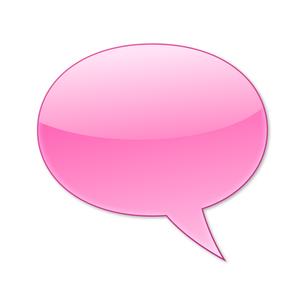 ふきだし 丸タイプ 右 (ピンク色)の写真素材 [FYI00322372]
