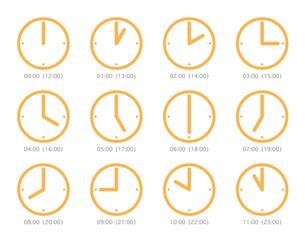 ピクト 時計 時間 オレンジの写真素材 [FYI00322429]