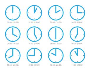 ピクト 時計 時間 ブルーの写真素材 [FYI00322442]