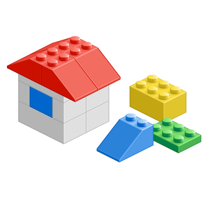 ブロック おもちゃ 組み立て 立体物 家の写真素材 [FYI00322443]