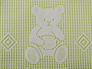 クマの模様のレース編み(グリーン)の素材 [FYI00322698]