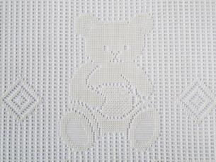 クマの模様のレース編み(白)の素材 [FYI00322705]