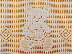 クマの模様のレース編み(オレンジ)の素材 [FYI00322706]