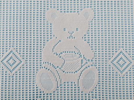 クマの模様のレース編み(ブルー)の写真素材 [FYI00322712]