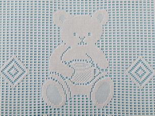 クマの模様のレース編み(ブルー)の素材 [FYI00322712]
