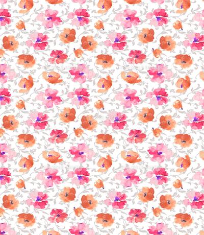 水彩の花と唐草2の素材 [FYI00322755]