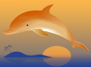 海に沈む夕日とイルカの写真素材 [FYI00322781]