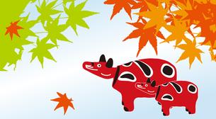 秋のイメージ 赤ベコと紅葉の素材 [FYI00322830]