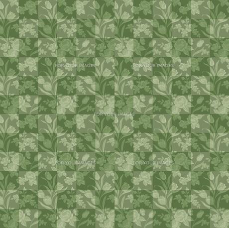 グリーンの花柄のチエックの素材 [FYI00322907]
