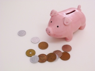 ピンクのぶたの貯金箱とお金の写真素材 [FYI00322969]