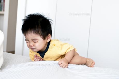 ベットによじ登る一歳児の素材 [FYI00323029]