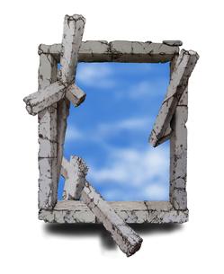 廃墟の窓と空の写真素材 [FYI00323620]