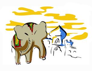インド象とモスクの写真素材 [FYI00323650]