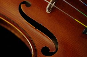 オールドフレンチ・ヴァイオリンのf字孔の写真素材 [FYI00325570]