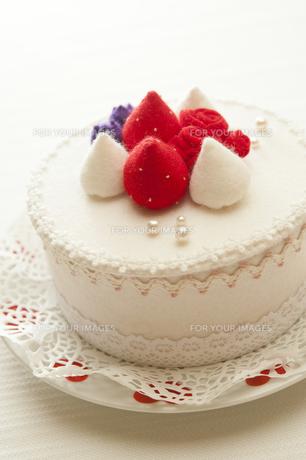 フェルト製のショートケーキの写真素材 [FYI00328328]
