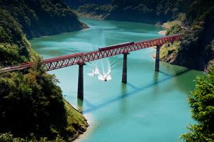 井川線とダム湖の水上スキーの写真素材 [FYI00329298]