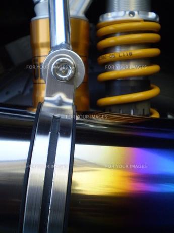 バイク、マフラー焼けた色の写真素材 [FYI00329511]