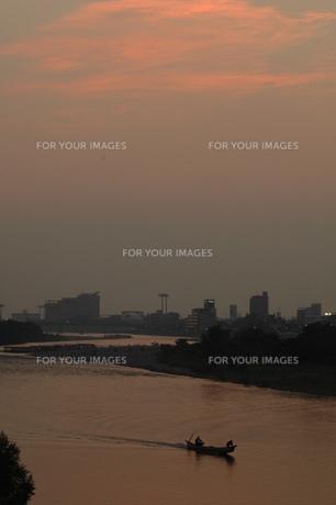 長良川の夕暮れ、遡上する鵜舟の写真素材 [FYI00330308]